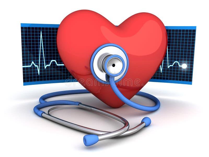 Corazón y estetoscopio abstractos ilustración del vector