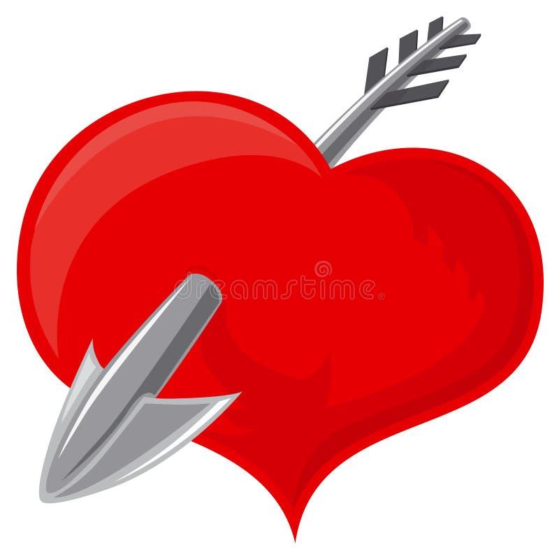 Corazón y flecha stock de ilustración