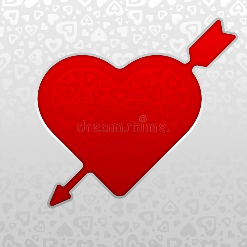 Corazón y flecha rojos stock de ilustración