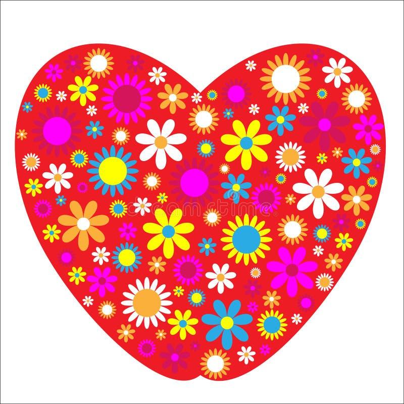Corazón y flores stock de ilustración