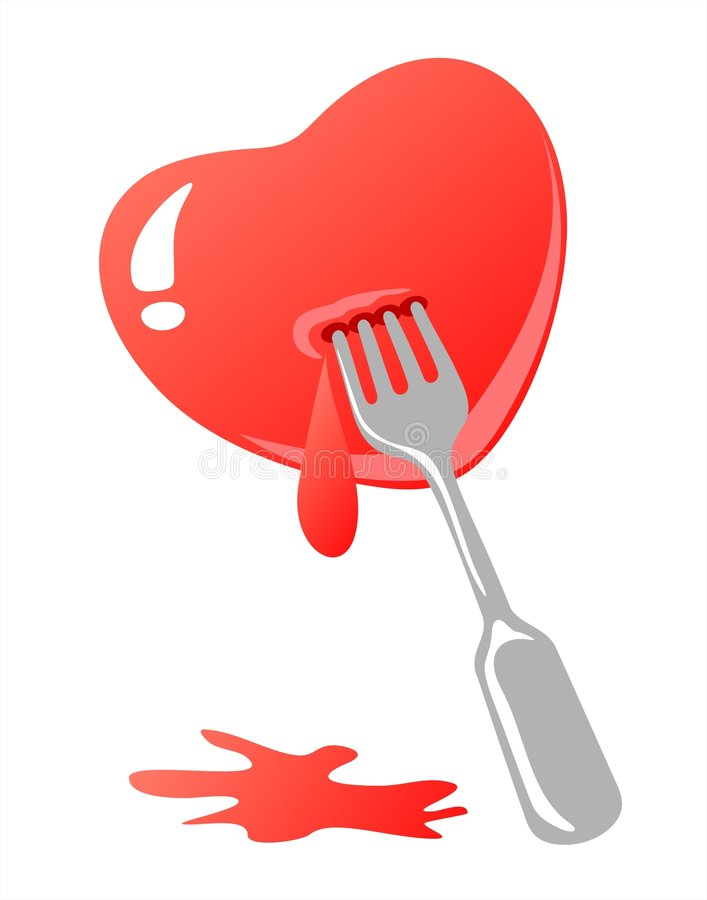 Corazón y fork stock de ilustración