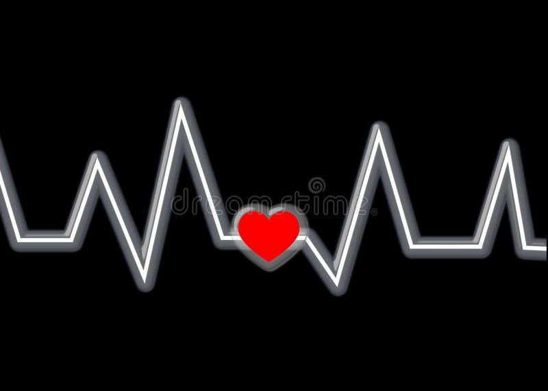 Corazón y latido del corazón rojos en negro ilustración del vector