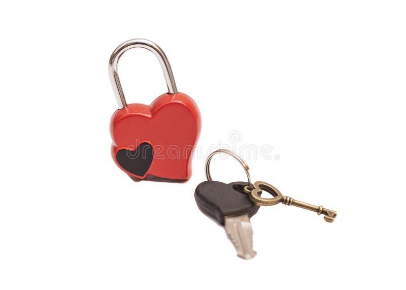 Corazón y llaves formados bloqueados foto de archivo libre de regalías