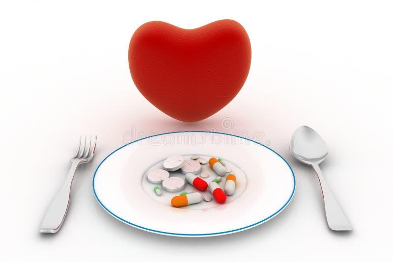 Corazón y píldoras en la placa ilustración del vector