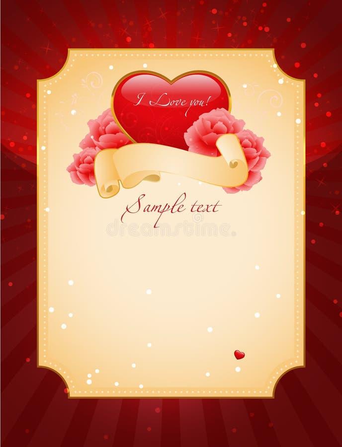 Corazón y rosas rojos stock de ilustración