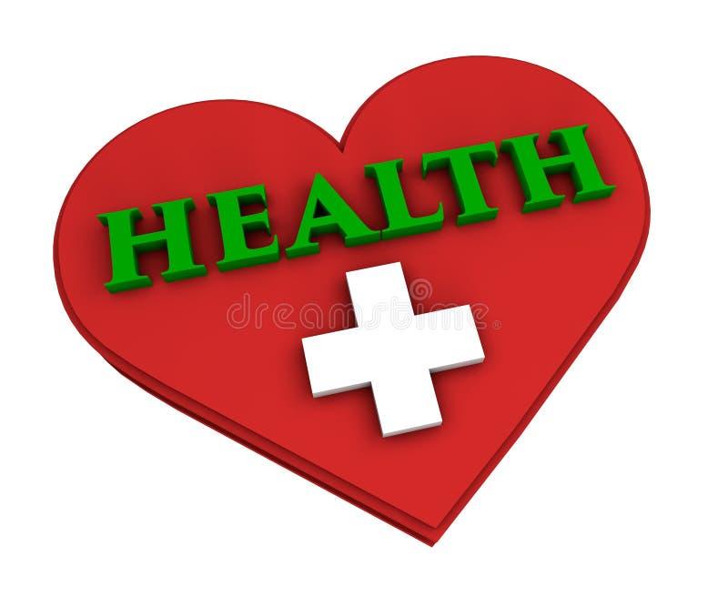 Corazón y salud en el fondo blanco foto de archivo
