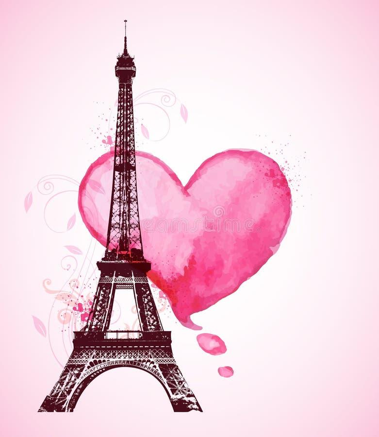 Corazón y torre Eiffel de la acuarela ilustración del vector