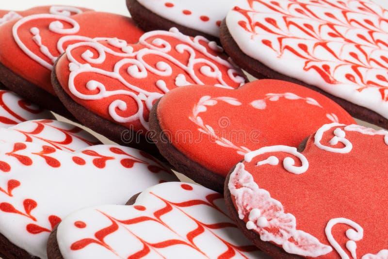 Corazón y tulipanes del pan de jengibre foto de archivo libre de regalías