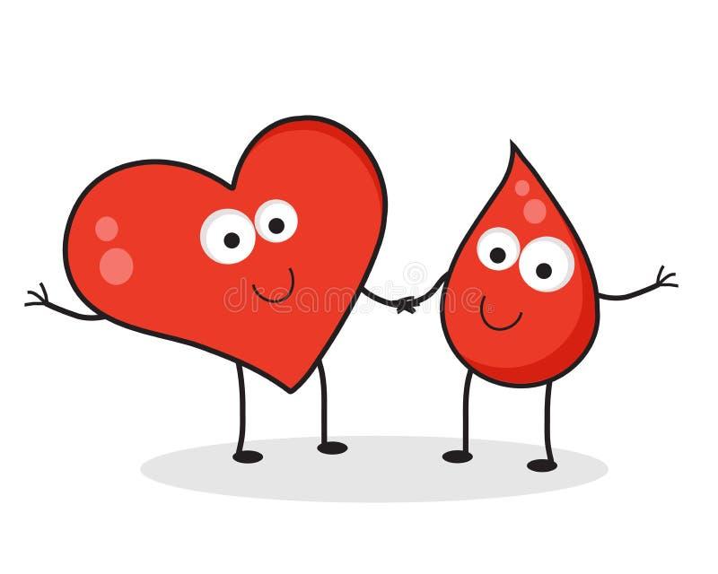 Corazón y una gota de la sangre ilustración del vector