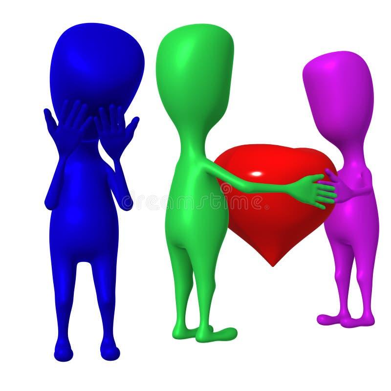 corazón y uno del asimiento de la marioneta 3d tristes ilustración del vector