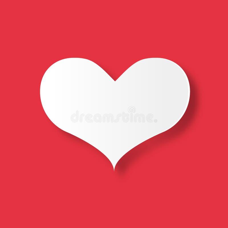 Coraz?n blanco en fondo rojo Día de San Valentín y amor del concepto de los pares Tema del arte de papel de Digitaces stock de ilustración