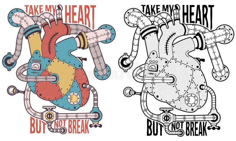Coraz?n de Steampunk ilustración del vector