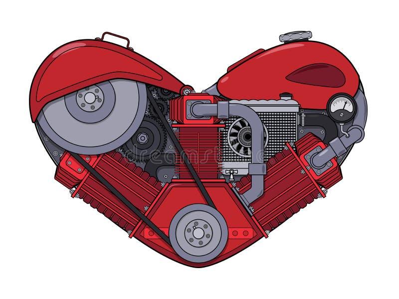 Coraz?n del motor en estilo del steampunk Ilustraci?n del vector ilustración del vector