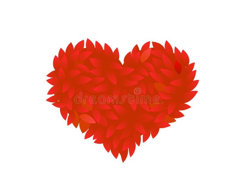 Coraz?n rojo de los p?talos color de rosa El arbusto del follaje se va en la forma roja de un corazón Diseño romántico del amor A stock de ilustración