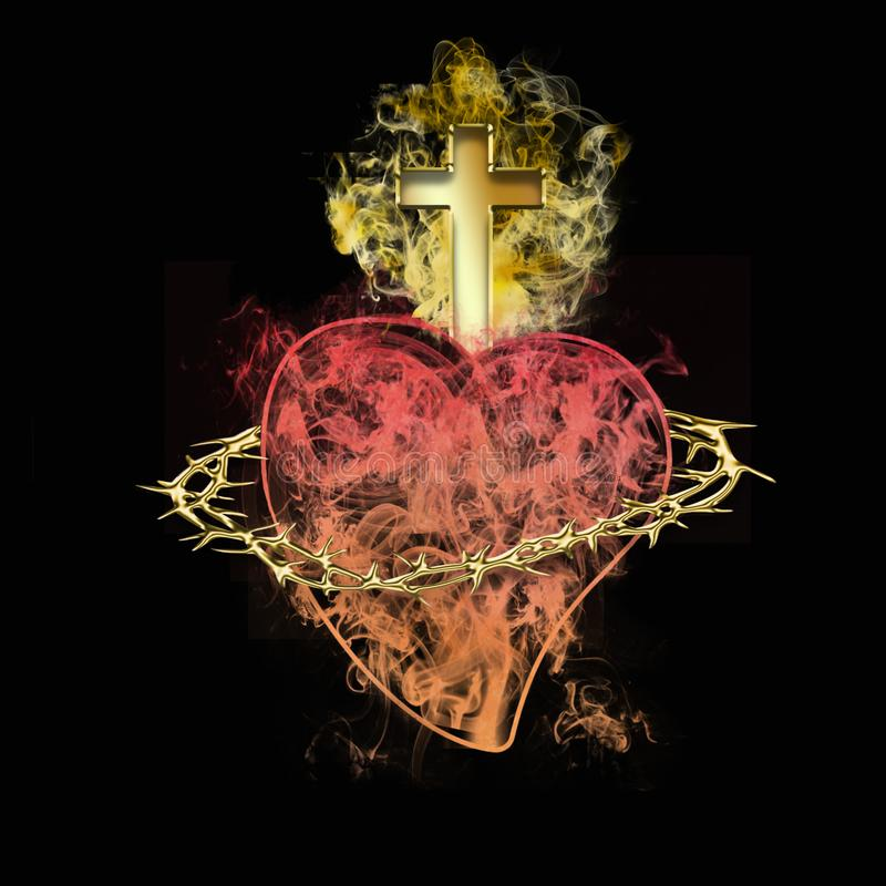 Coraz?n sagrado de Jes?s S?mbolo cristiano ilustración del vector