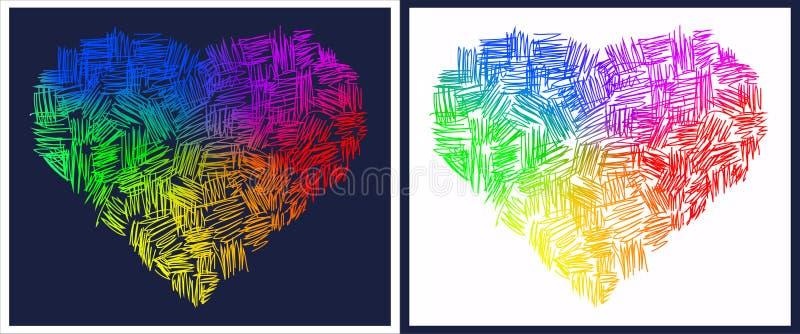 Corazones abstractos del arco iris ilustración del vector