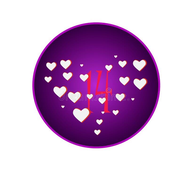 Corazones blancos en círculo púrpura brillante y el número rosado 14 stock de ilustración