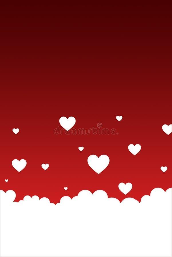 Corazones blancos en un fondo rojo brillante Plantilla del día de tarjetas del día de San Valentín stock de ilustración