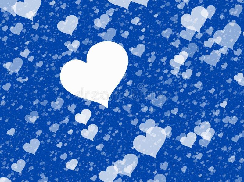 Corazones blancos que vuelan en fondos azules Textura del amor stock de ilustración