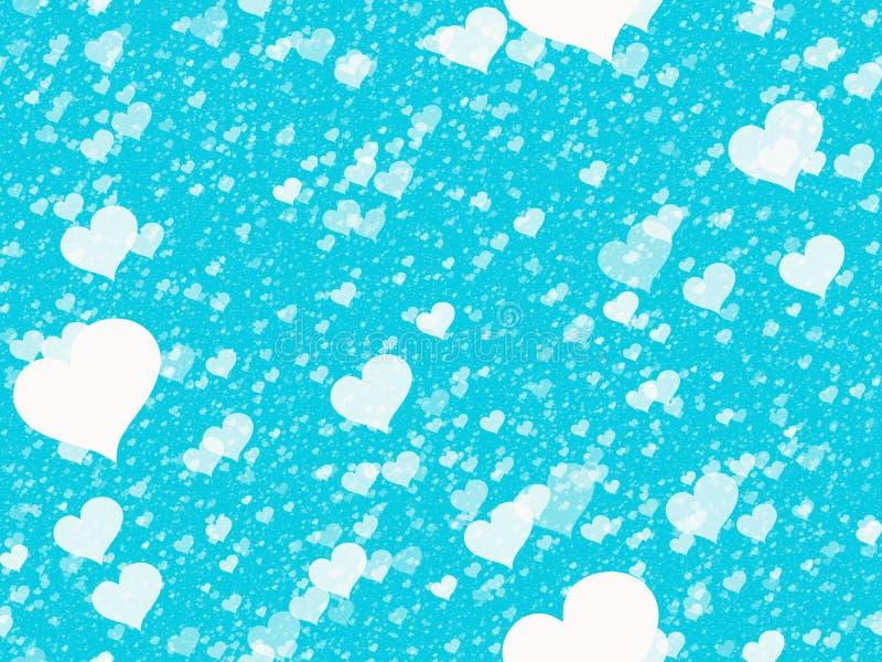 Corazones blancos que vuelan en fondos azules Textura inconsútil stock de ilustración