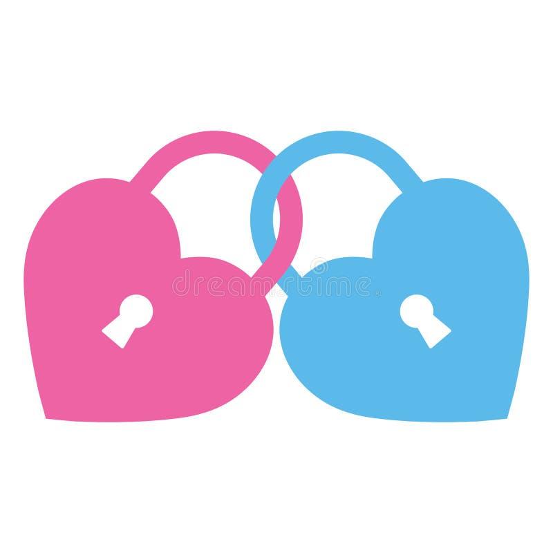 Corazones bloqueados del ejemplo Candados en la forma de un corazón stock de ilustración