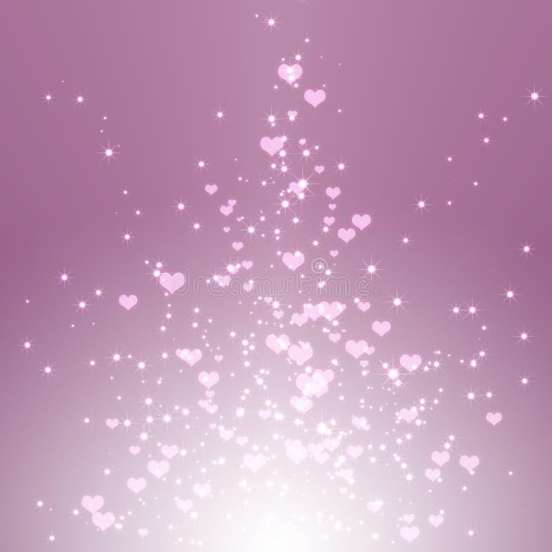 Corazones chispeantes de las estrellas en la explosión púrpura de la luz libre illustration