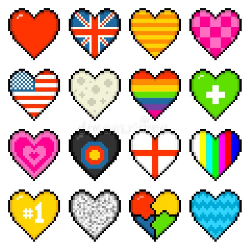 corazones clasificados de 8 bits del pixel libre illustration