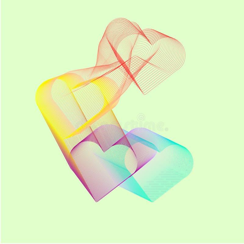 Corazones coloreados abstractos en un fondo ligero stock de ilustración