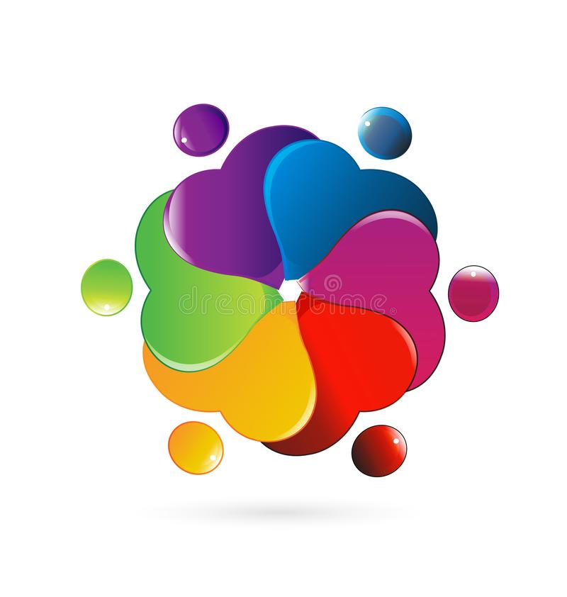Corazones coloridos de la gente que trabajan junto, trabajo en equipo stock de ilustración