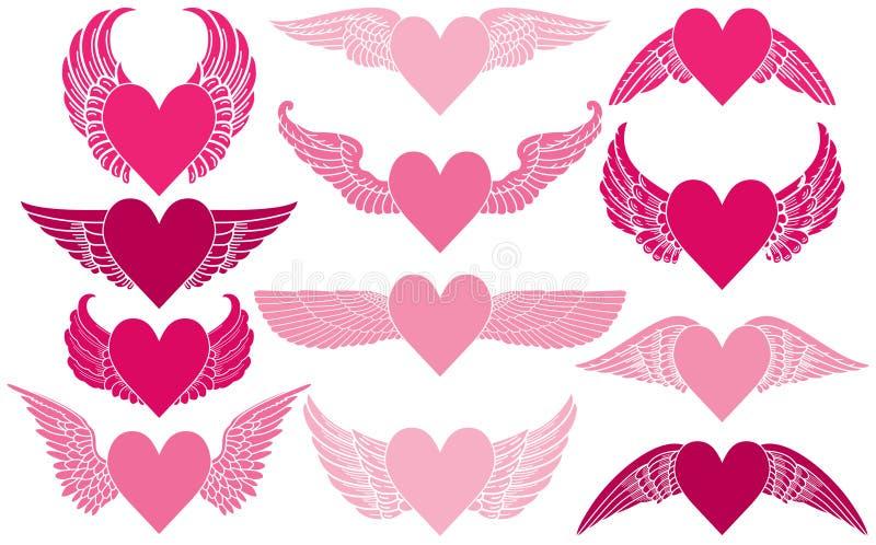 Corazones con las alas ilustración del vector
