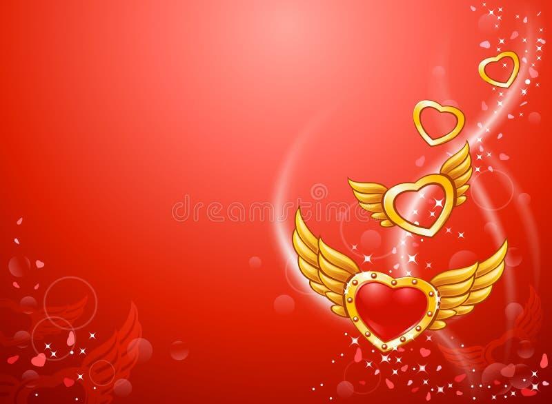 Corazones cons alas del amor que vuelan ilustración del vector