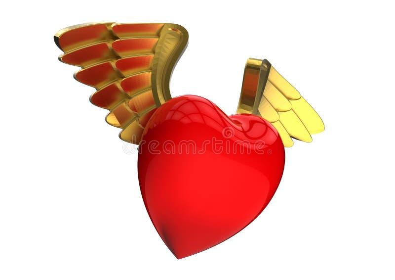 Corazones cons alas oro de las tarjetas del día de San Valentín stock de ilustración