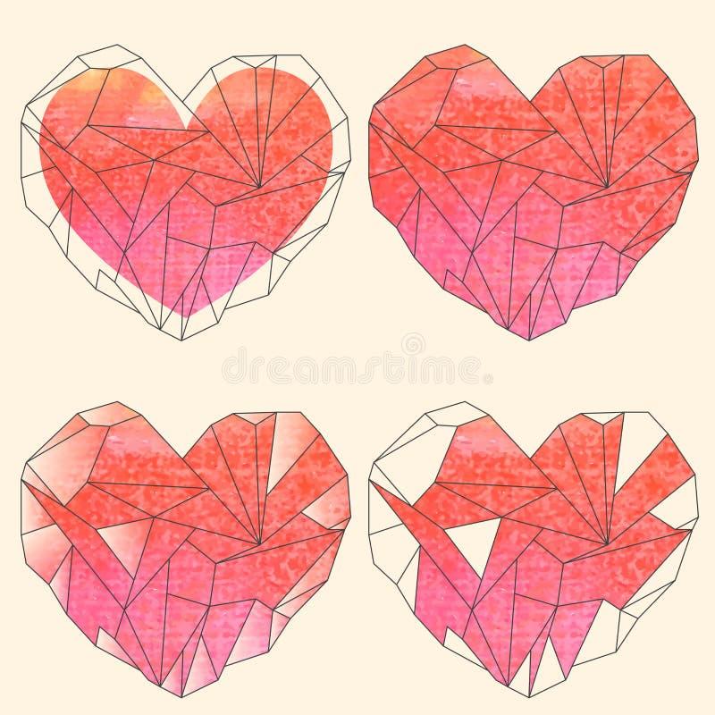 Corazones cristalinos de la acuarela fijados stock de ilustración