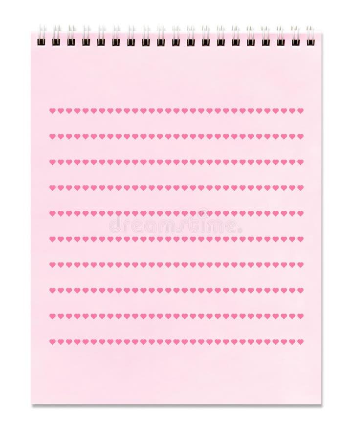 Corazones - cuaderno espiral rosado alineado, imagenes de archivo
