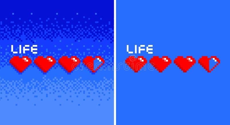 Corazones de 8 bits del vintage del juego del arte del pixel en bacground azul ilustración del vector