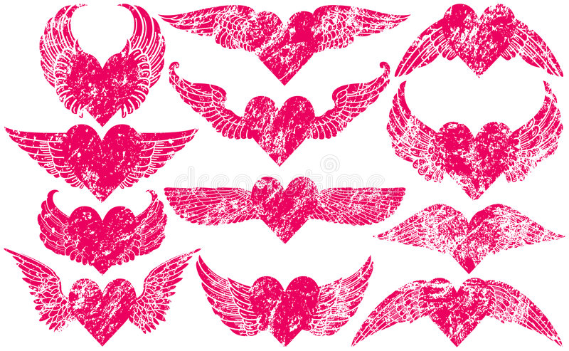 Corazones de Grunge con las alas stock de ilustración