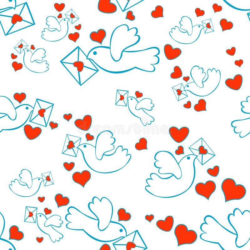 Corazones de la carta de las palomas inconsútiles stock de ilustración