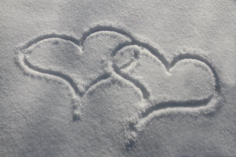 Corazones de la nieve imagen de archivo libre de regalías