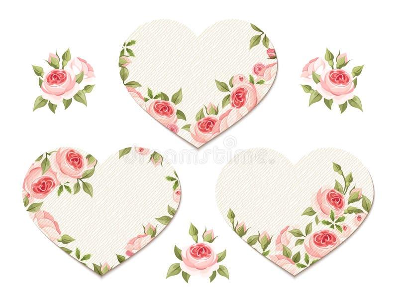 Corazones de la tarjeta del día de San Valentín con las rosas rosadas Vector EPS-10 libre illustration