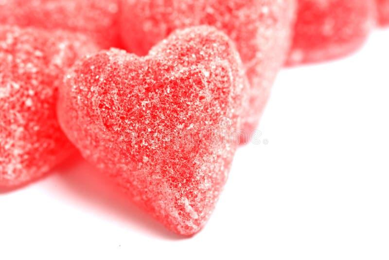Corazones de la tarjeta del día de San Valentín del caramelo de azúcar fotos de archivo