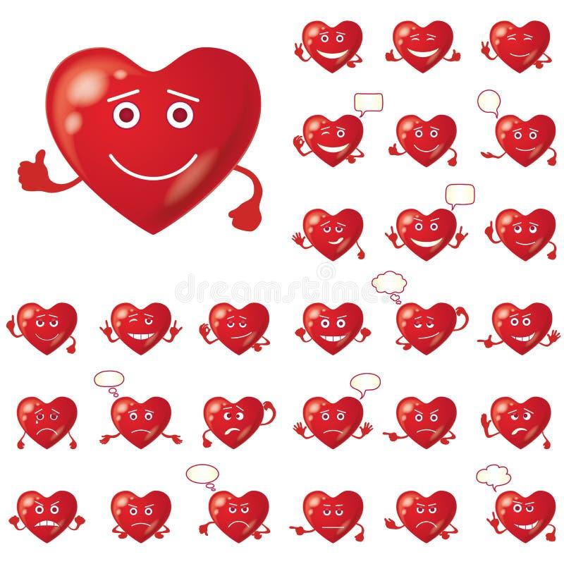 Corazones de la tarjeta del día de San Valentín, smiley, sistema libre illustration