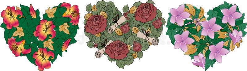 Corazones de las flores - lirios, rosas, magnolia con oro y hojas verdes Vector Puede ser utilizado como elemento del diseño a un libre illustration