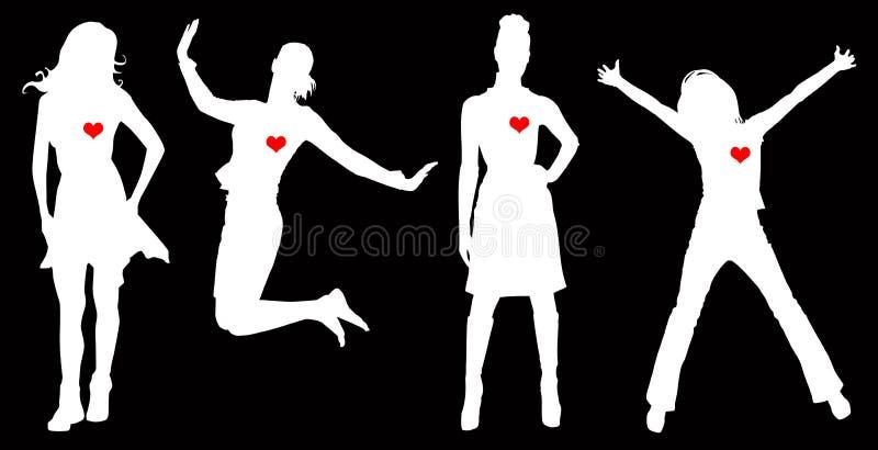 Corazones de las mujeres stock de ilustración