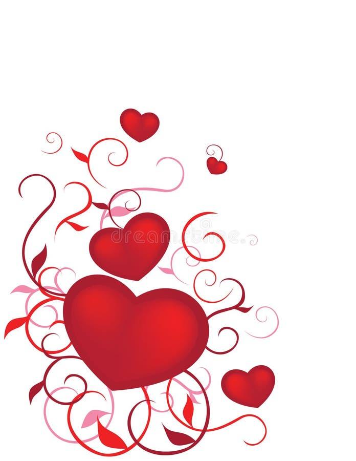 Corazones de las tarjetas del día de San Valentín ilustración del vector