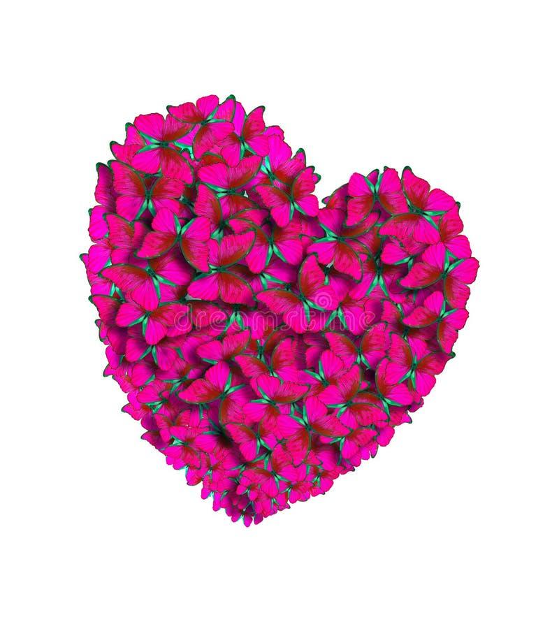 Corazones de los amantes hechos de mariposas brillantes St Día del ` s de la tarjeta del día de San Valentín fotos de archivo libres de regalías