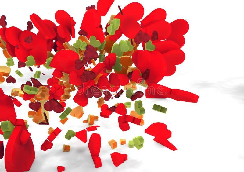 Corazones De Los Colores De Vuelo Imagen de archivo