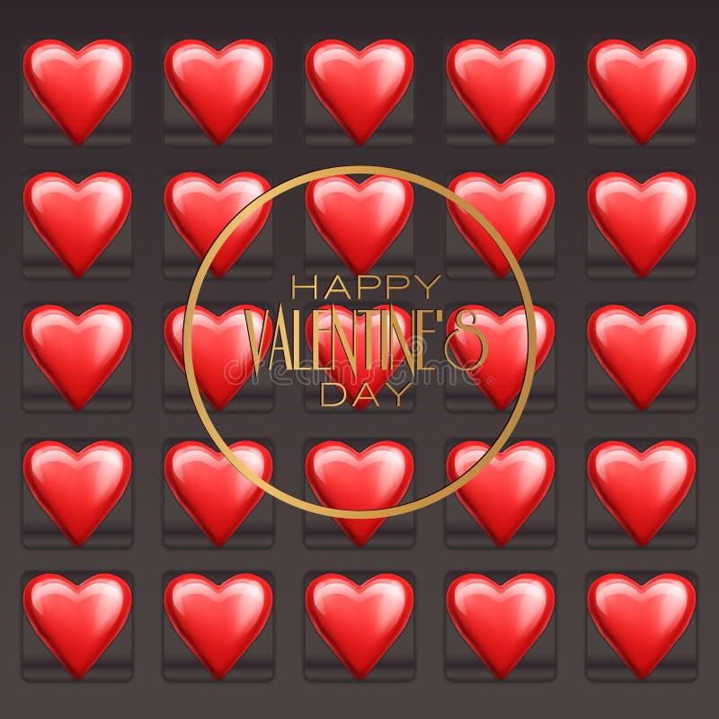 Corazones de los dulces del chocolate para el día de tarjeta del día de San Valentín Ilustración del vector stock de ilustración
