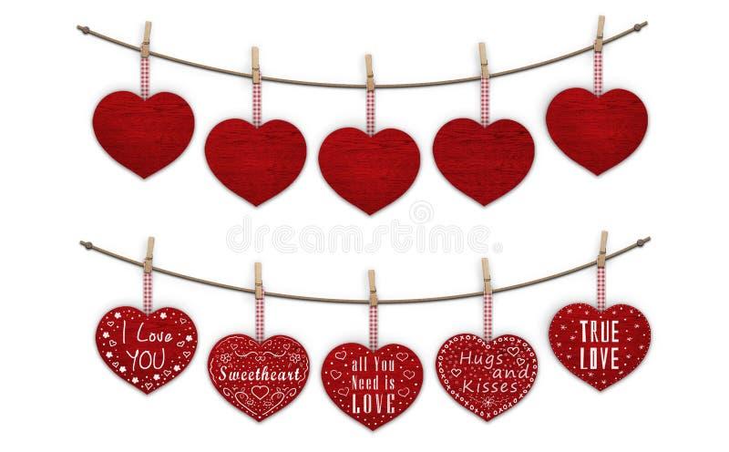 Corazones de madera rojos lindos que cuelgan en clavijas de ropa, en blanco y adornado con el texto te amo imágenes de archivo libres de regalías