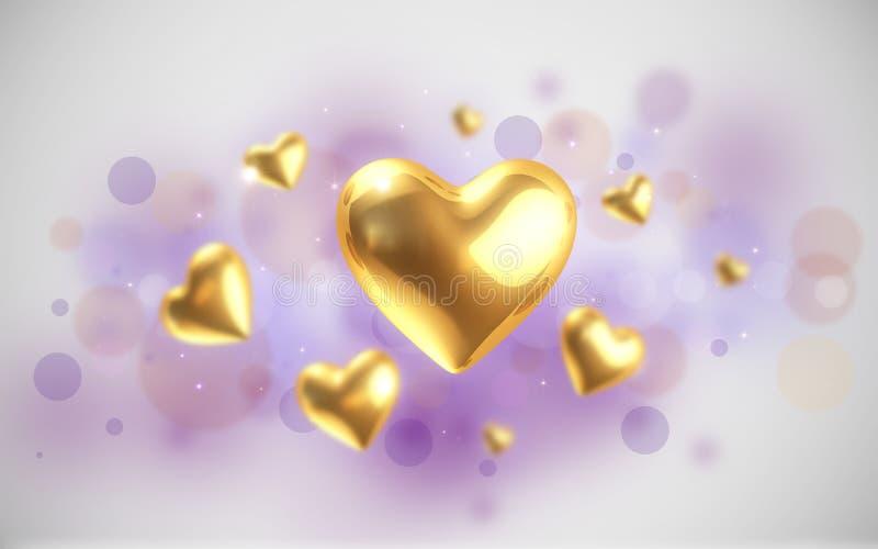Corazones de oro ilustración del vector
