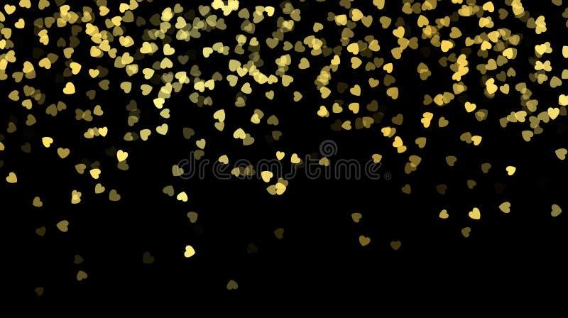 Corazones de oro caidos Día de tarjetas del día de San Valentín feliz Ejemplo del vector aislado en oscuridad stock de ilustración
